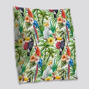 Tropical Flowers and Macaw Burlap Throw Pillow