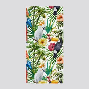 Tropical Flowers and Macaw Beach Towel