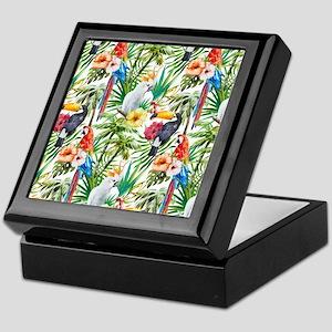 Tropical Flowers and Macaw Keepsake Box