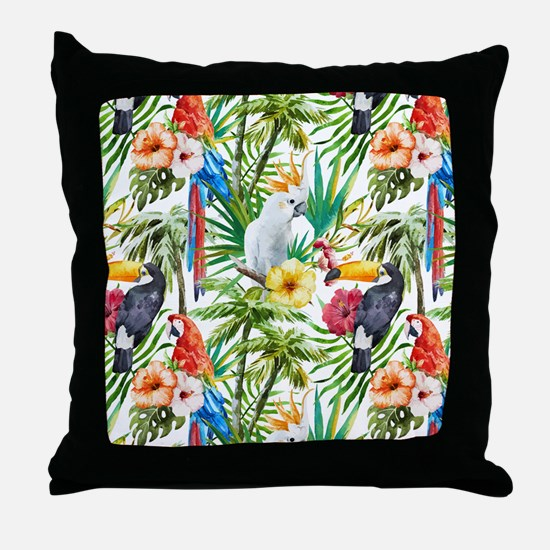Tropical Flowers and Macaw Throw Pillow