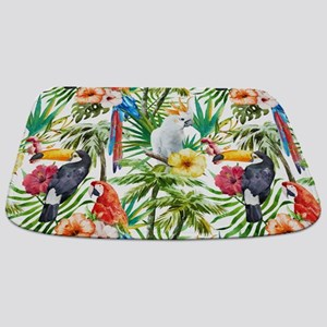 Tropical Flowers and Macaw Bathmat