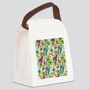 Tropical Flowers and Macaw Canvas Lunch Bag