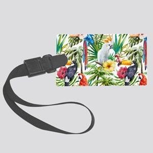 Tropical Flowers and Macaw Large Luggage Tag