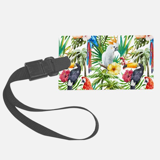 Tropical Flowers and Macaw Luggage Tag