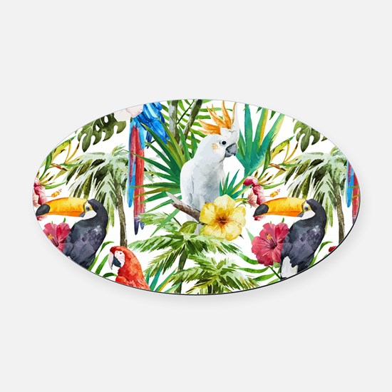 Tropical Flowers and Macaw Oval Car Magnet