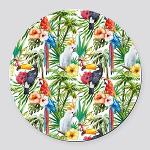 Tropical Flowers and Macaw Round Car Magnet