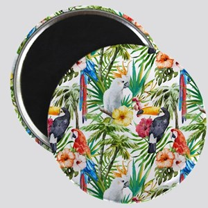 Tropical Flowers and Macaw Magnet