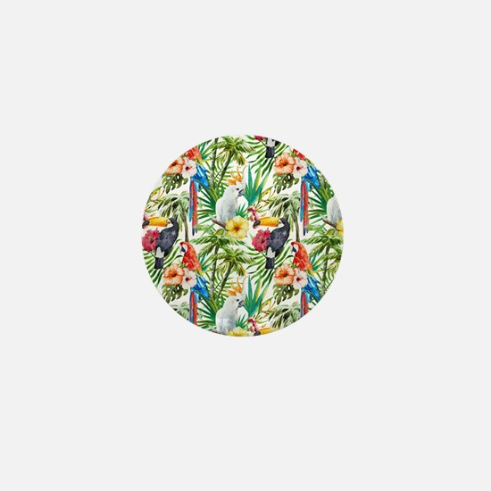 Tropical Flowers and Macaw Mini Button