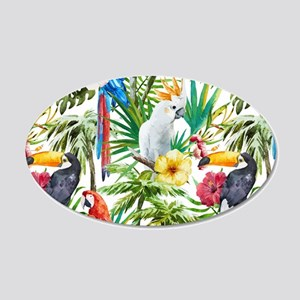 Tropical Flowers and Macaw 20x12 Oval Wall Decal