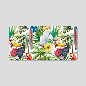 Tropical Flowers and Macaw Aluminum License Plate