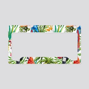 Tropical Flowers and Macaw License Plate Holder
