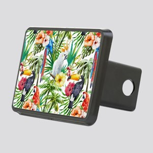 Tropical Flowers and Macaw Rectangular Hitch Cover
