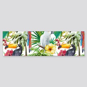 Tropical Flowers and Macaw Sticker (Bumper)