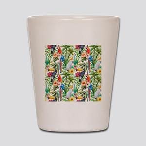 Tropical Flowers and Macaw Shot Glass