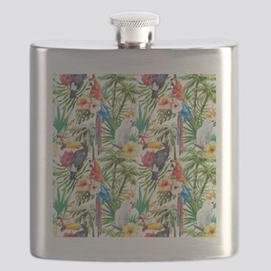 Tropical Flowers and Macaw Flask