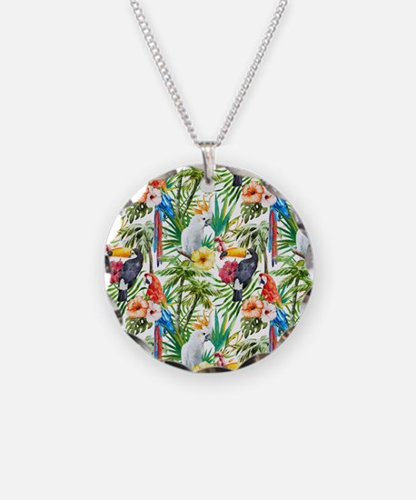 Tropical Flowers and Macaw Necklace