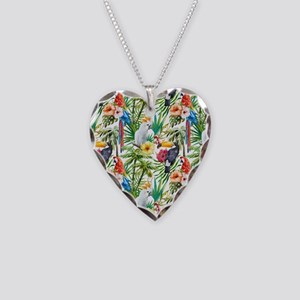 Tropical Flowers and Macaw Necklace Heart Charm