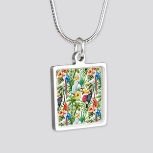 Tropical Flowers and Macaw Silver Square Necklace