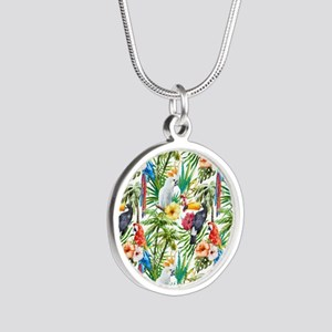 Tropical Flowers and Macaw Silver Round Necklace