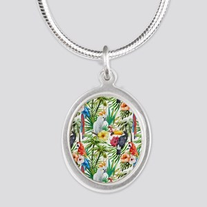 Tropical Flowers and Macaw Silver Oval Necklace