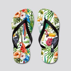 Tropical Flowers and Macaw Flip Flops