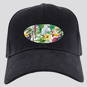 Tropical Flowers and Macaw Black Cap