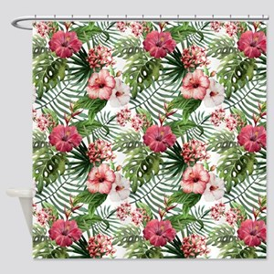 Watercolor Tropical Flowers Pattern Shower Curtain
