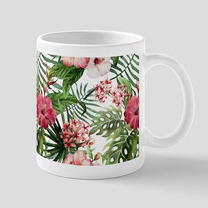 Watercolor Tropical Flowers Pattern Mug