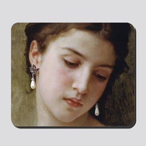 Woman with pearl earrings added Mousepad