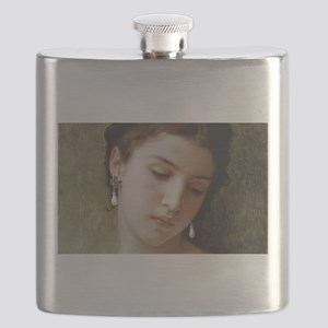 Woman with pearl earrings added Flask