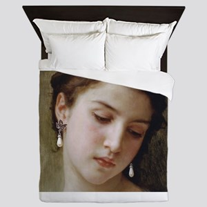 Woman with pearl earrings added Queen Duvet