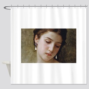 Woman with pearl earrings added Shower Curtain