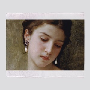 Woman with pearl earrings added Throw Blanket