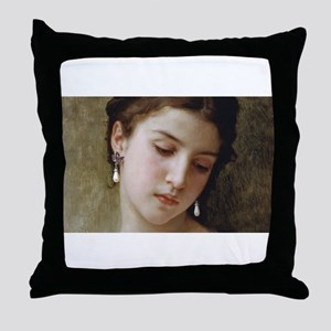 Woman with pearl earrings added Throw Pillow