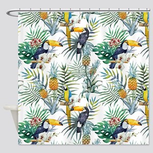 Macaw Tropical Birds and Plants Shower Curtain