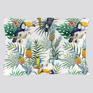 Macaw Tropical Birds and Plants Pillow Case
