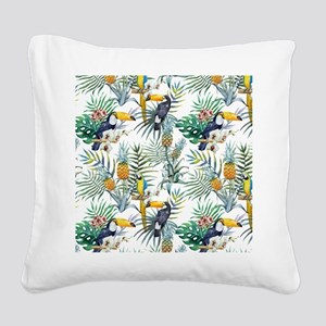 Macaw Tropical Birds and Plan Square Canvas Pillow