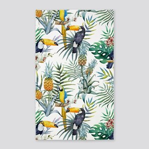 Macaw Tropical Birds and Plants Area Rug