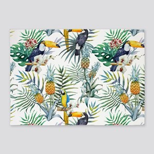 Macaw Tropical Birds and Plants 5'x7'Area Rug