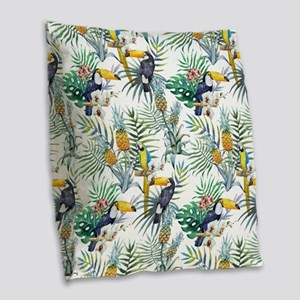 Macaw Tropical Birds and Plant Burlap Throw Pillow