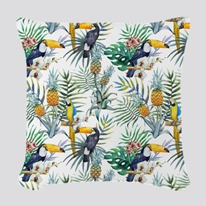Macaw Tropical Birds and Plant Woven Throw Pillow