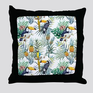 Macaw Tropical Birds and Plants Throw Pillow