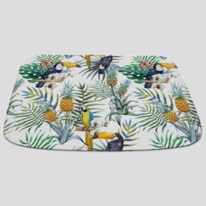 Macaw Tropical Birds and Plants Bathmat