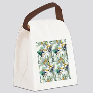 Macaw Tropical Birds and Plants Canvas Lunch Bag