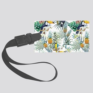 Macaw Tropical Birds and Plants Large Luggage Tag