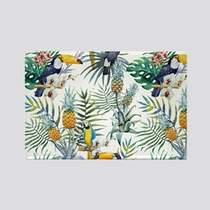 Macaw Tropical Birds and Plants Rectangle Magnet