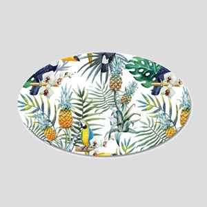 Macaw Tropical Birds and Pla 20x12 Oval Wall Decal