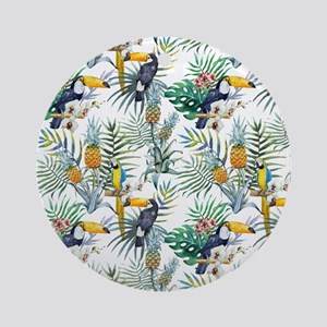 Macaw Tropical Birds and Plants Ornament (Round)