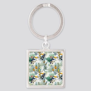 Macaw Tropical Birds and Plants Square Keychain