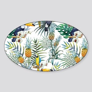 Macaw Tropical Birds and Plants Sticker (Oval)